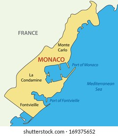 Principality of Monaco - vector map