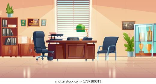 学校の校長室で、机、椅子、本棚、スポーツ用トロフィーとショーケースを持つ。 教師、生徒、両親との会談や話し合いを行うための、校長閣内の空虚なベクター画像