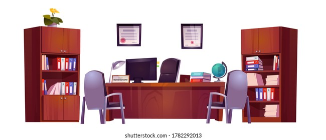 Principals office in school for meeting and talking with teachers, pupils and parents. Vector cartoon set of furniture, table, chairs and bookcase for cabinet of guidance, counselor or headmaster