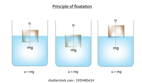 Principle of floatation on wooden cube with water, Archimedes' principle, law of floatation, concept and theory, upthrust, thrust or pointed upwards, upward force, floating object on water or liquids
