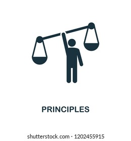 Principles icon. Monochrome style design from business ethics collection. UX and UI. Pixel perfect principles icon. For web design, apps, software, printing usage.