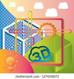 Print 3d illustration. Abstract presentation background