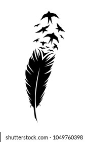 Print art concept design tattoo black feather flying birds swallows silhouette. Vector illustration fly magical pen writer writing