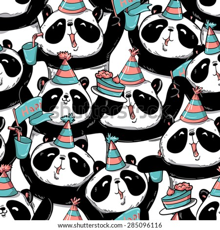 Print Birthday Gift Wrap Panda Vector Illustration