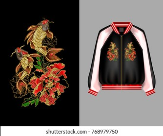 A print for a bomber or a sweatshit with embroidery of Japanese carp koi and peony flowers. Patches are embroidered with sequins and beads. Vector illustration.