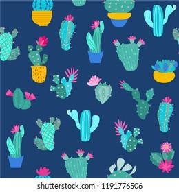 print cactus seamless pattern vector illustration design fabric
