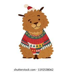 Print cartoon dog in a christmas hat and warm sweater. The poster design Merry Christmas with a cheerful doggy for happy holiday. Template for a cute new year card. Vector.