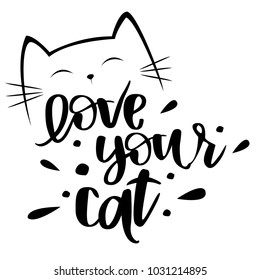 print with cat face and letting love your cat. Print on T-shirt, cards, covers, posters, messages, clothes.