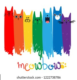 Print with cats and a rainbow. Print for textiles, web, clothes, t-shirts, posters, postcards and other