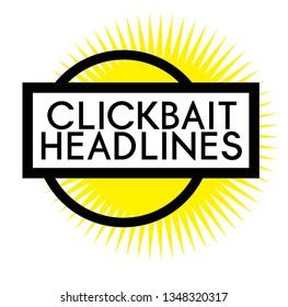 Print clickbait headlines stamp on white