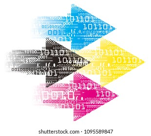 Print colors Arrows with  binary codes, print data.  Grunge stylized arrows with binary codes and CMYK print colors. Vector available.
