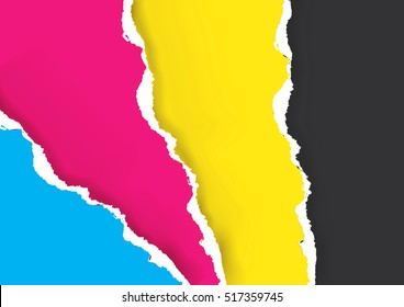 Print Colors Ripped Paper Background. Colorful Ripped paper with print colors. Concept for presenting color printing. Vector available.