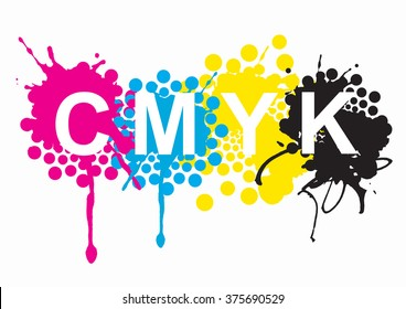 Print colors.sign Can magenta yellow black inks and sign on white background. Concept for presenting color printing. Vector available.