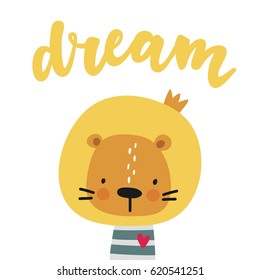 Print with cute lion. Can be used print print  for  t-shirts, home decor, posters, cards