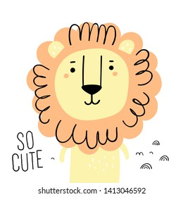 Print with cute lion. Scandinavian style flat design. Concept for children print.