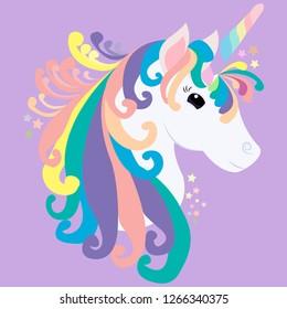 print cute unicorn on purple background