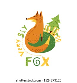 Print with cutecsly fox and cowardly hares in flat design. Vector illustration in Scandinavian style. Concept for children, baby print.