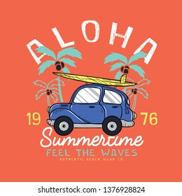 print design with car and palm drawns as vector for kids fashion