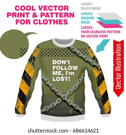 Print Don't follow me. Vector layout, sublimation print for printing on clothes, sweatshirts, tshirts, tank top. Vector illustration for sublimation, silkscreen, thermal transfer. Online constructor.