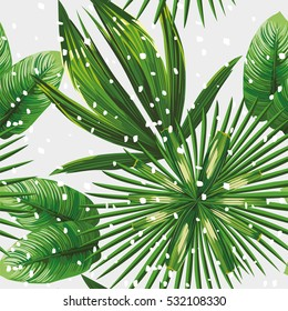 Print exotic jungle plant tropical palm leaves. Pattern, seamless floral vector on the snow christmas background. Nature xmas wallpaper.