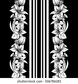 Print with flowers and stripes. Lilies and tulips. Monochrome vector seamless border.