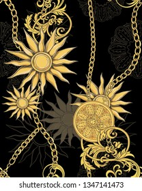Print with gold chains and jewelry and baroque leaves on a black background. Vector seamless pattern.