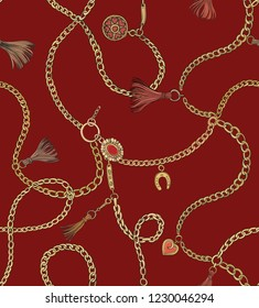 Print with gold chains on red background. Vector seamless pattern. Fabric design.
