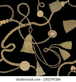 Print with gold chains and tassels on a black background. Baroque print. Vector seamless pattern.