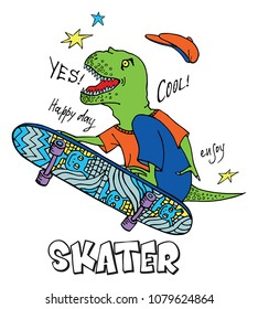 Print with a  hand drawing happy dinosaur skating on a skateboard. For printed t shirt, graphic tee, poster and other design.