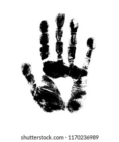 Print of hand of human, cute skin texture pattern,vector grunge illustration. Scanning the fingers, palm on white background