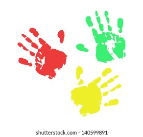 Print of hand from ink colorful RGB