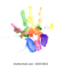 Print of a hand painted in several colors on white background