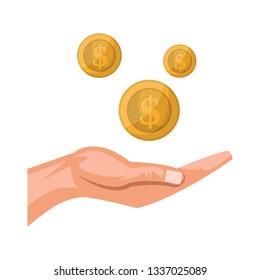 Print hand receiving money on white background vector illustration