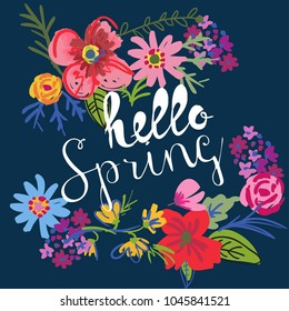 print hello spring. With flowers and words. For postcards, posters, wrapping paper, messages, screensaver, clothes, backpacks, web