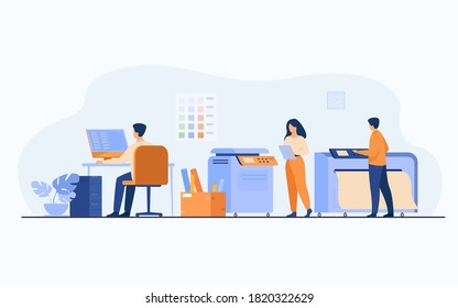 Print house workers using computers and operating big commercial printers for printing banners and posters. Vector illustration for ad agency, printing industry, advertising design concept