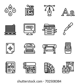 Print icons set elegant series. Line Style stock vector.