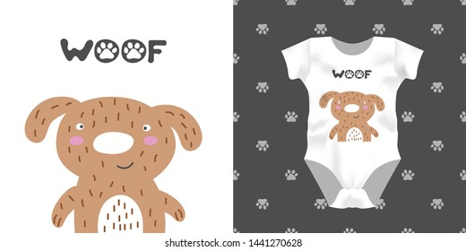 Print for kid bodysuit with smile dog, text woof. Cute design child pajamas mock up. Baby graphic for clothes wear, room decor, t-shirt print, baby shower invitation, wrapping background