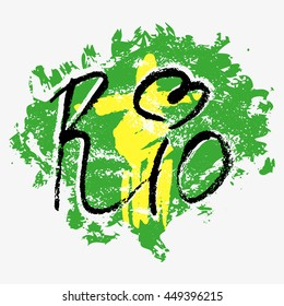 Print with lettering about Rio de Janeiro and green yellow blue paint splashes on grey background. Pattern for fabric textiles, clothing, shirts, t-shirts. Vector illustration