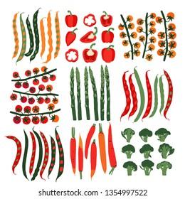Print. Linocut style illustration with vegetables. Colorful pattern. Vegan Background. Set
