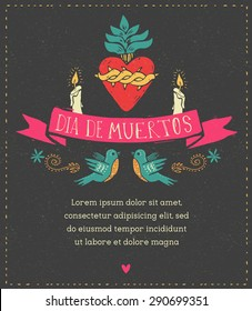 print - mexican heart, day of the dead poster