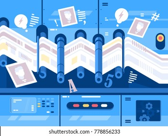 Print newspaper in printing house. Publishing and polygraphy. Vector illustration