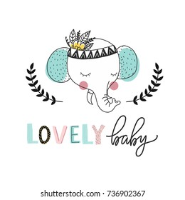 Print for nursery. Scandinavian style baby print. Hand drawn vector illustration with elephant. Vector lettering.