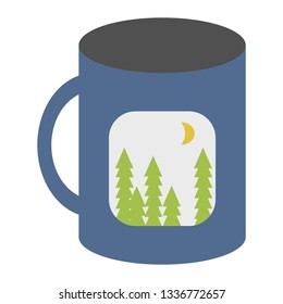 Print on demand concept of coffee cup with a photo printed on it in vector