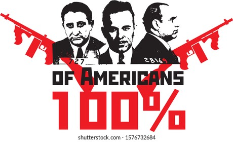 print on a shirt on the theme of gangsters of America