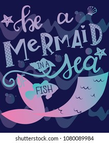 print on the T-shirt be a mermaid swim in the sea with the fishes. Print for covers, wallpaper, poster, web, collection, textiles, clothing, backpack.