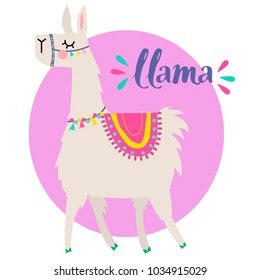 Print on a T-shirt with a cartoon lama. for the web, textiles, fabric, wrapping paper, clothes, backpacks, wallpaper, case, card.