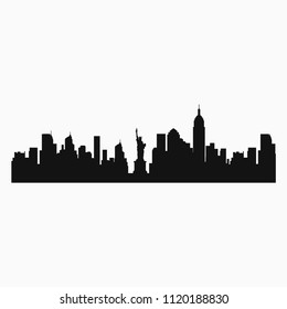 print on t-shirt, city silhouette new york, famous city america, flat style, vector design template