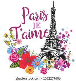 print on a T-shirt with an eiffel tower and flowers and an inscription in French. Paris je t'aime. print on textiles, fabric, postcard, cover, notebook, backpack, wallpaper, wrapping paper, VEB