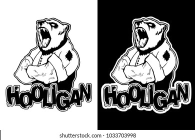 "print on T-shirt ""hooligan"" with a bear image"