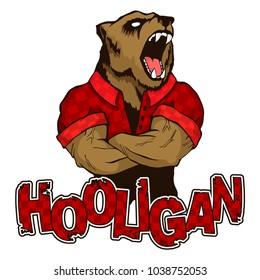 "print on T-shirt ""hooligan"" with a bear image"